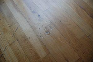 Scratched oak floor